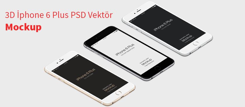 3d iphone 6 plus psd vektör mockup