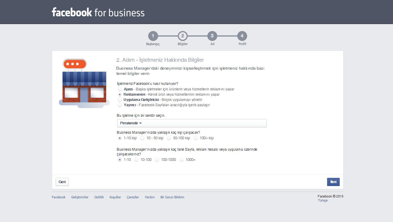 Facebook Business 3.Adım