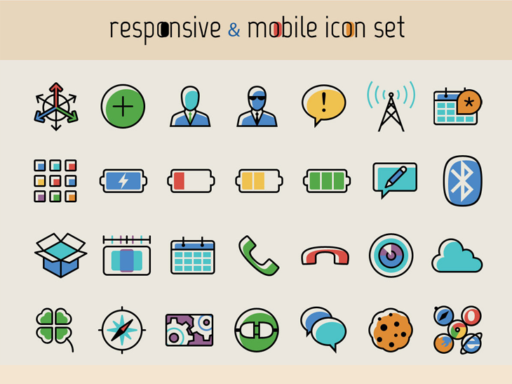 Ücretsiz 100 Responsive Mobil İkon Seti